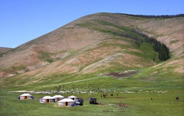 Nomaden am Khangai Gebirge