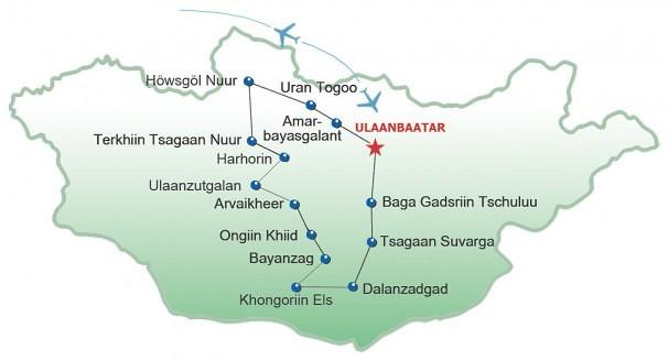 Route Gobi-Hovsgol
