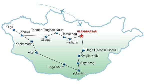 Wüste Gobi, Altaigebirgskette und zentrale Mongolei